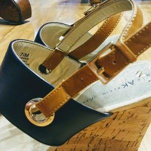 Anne Klein Shoes - Anne Klein iflex wedges navy blue & brown 7.5 M